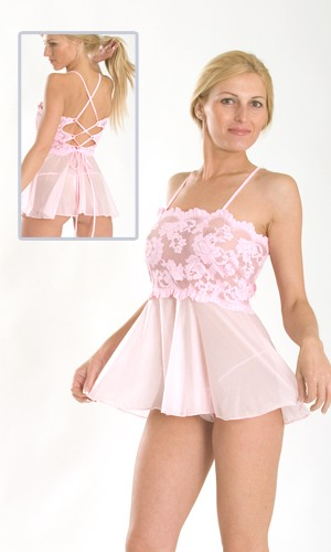 01-D1 Bando lace baby doll with sheer skirt, lacing in back and micro g-string.