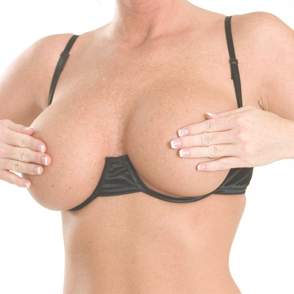 B15 Satin under wire open cup bra with adjustable straps and hook and eye closure in back.