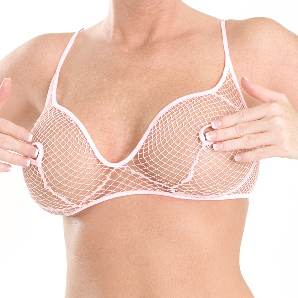 B2 Fishnet open nipple bra with hook closure in back and adjustable straps