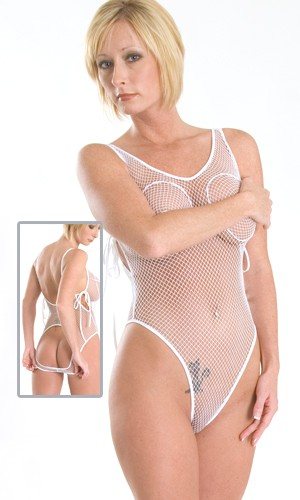 BS12 Fishnet nippleless, crotchless and open back teddy