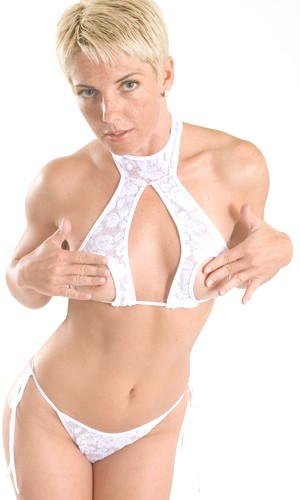S2L Stretch Lace two piece set with split halter top and tie side crotchless panty.