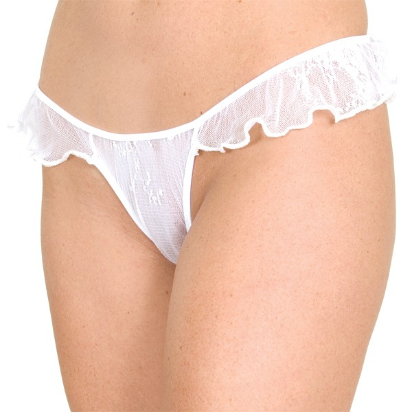 WL-P1 Wide Lace thong panty with side ruffles