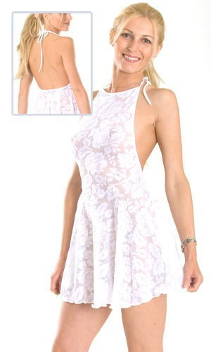 D13L Stretch Lace dress with circular skirt and halter top that ties at neck.