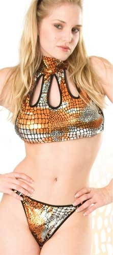F-T11 Foil halter top with cut outs in front