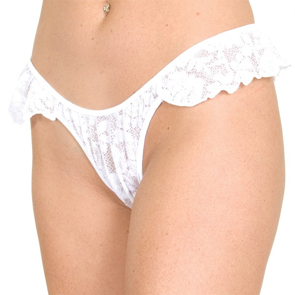 P23L Stretch Lace thong panty with ruffles on sides.