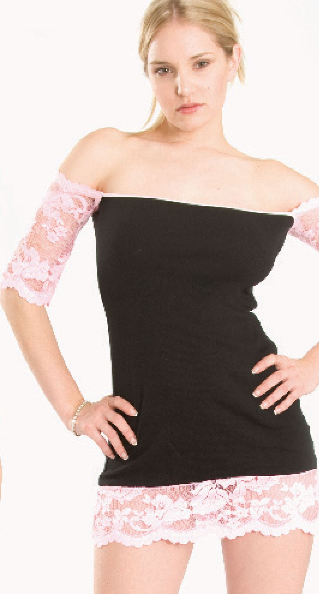 RK-D3 Rib knit dress with lace trip on bottom and lace drop sleeves.  Trimmed in pink.