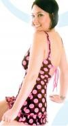 PD-D1 Polka Dot Dress with ruffle at bottom and lace up back