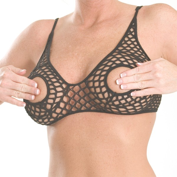 W-B2 Waffle open cup bra with adjustable straps