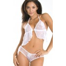WL-T2 Wide Lace baby doll top with triangle cups.  Ties at neck and back.