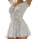 D1L Stretch Lace dress with scoop neck, short sleeves and circular skirt.