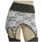 "GB10L-Lace garter belt with power mesh lining and 4"" elastic top"
