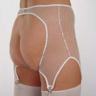 GB12 Fishnet garter belt with open back and 4 garters