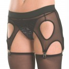 GB3M Mesh and elastic garter belt with cut outs