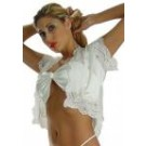 S-T6 Stretch Satin short bolero jacket.  Has short sleeves and lace trim.